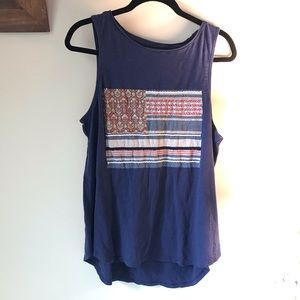 Red White and Blue Cotton Tank XL Lucky Brand
